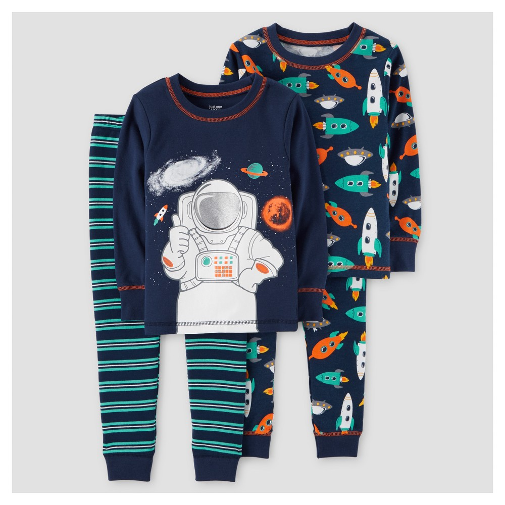 Toddler Boys 4pc Astronaut Long Sleeve Cotton Pajama Set - Just One You Made by Carters Navy 4T, Blue