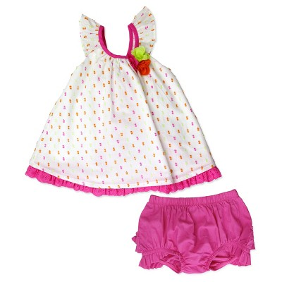 Baby Grand Signature Baby Girls' Swiss Dot Top and Ruffle Pantsy Set - Pink 6-9M