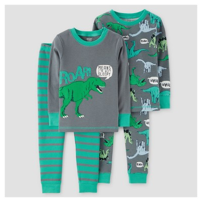 Baby Boys' 4pc Dinos Roar Long Sleeve Cotton Pajama Set - Just One You™ Made by Carter's® Gray 12M