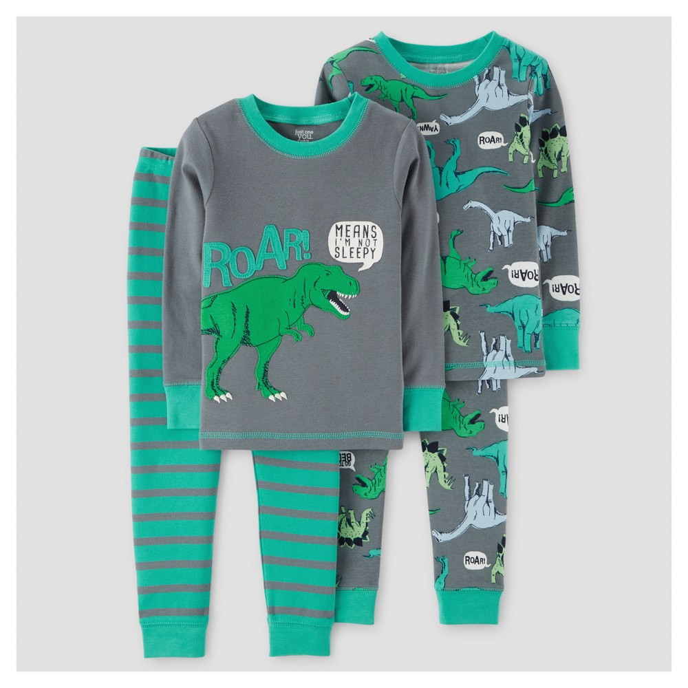 Baby Boys 4pc Dinos Roar Long Sleeve Cotton Pajama Set - Just One You Made by Carters Gray 12M, Size: 12 Months