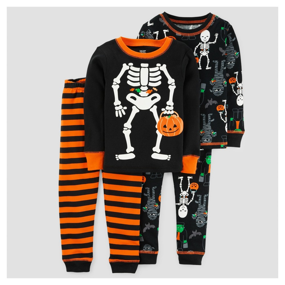 Toddler Boys 4pc Halloween Skeleton Long Sleeve Cotton Pajama Set - Just One You Made by Carters Black 3T, Black Currant