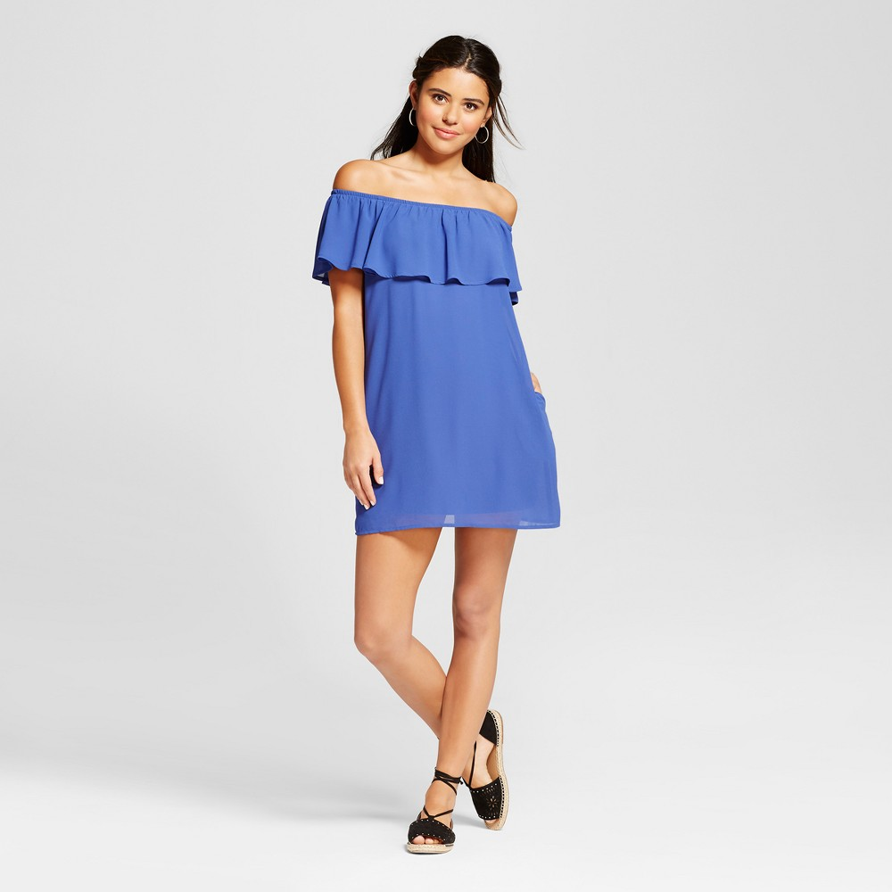 Womens Off the Shoulder Ruffle Dress - Lots Of Love By Speechless (Juniors) Blue M
