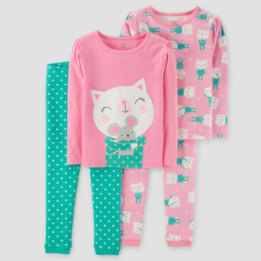 Baby Girls 4pc Kitty Mouse Polka Dots Long Sleeve Cotton Pajama Set - Just One You Made by Carters Pink 12M, Size: 12 Months