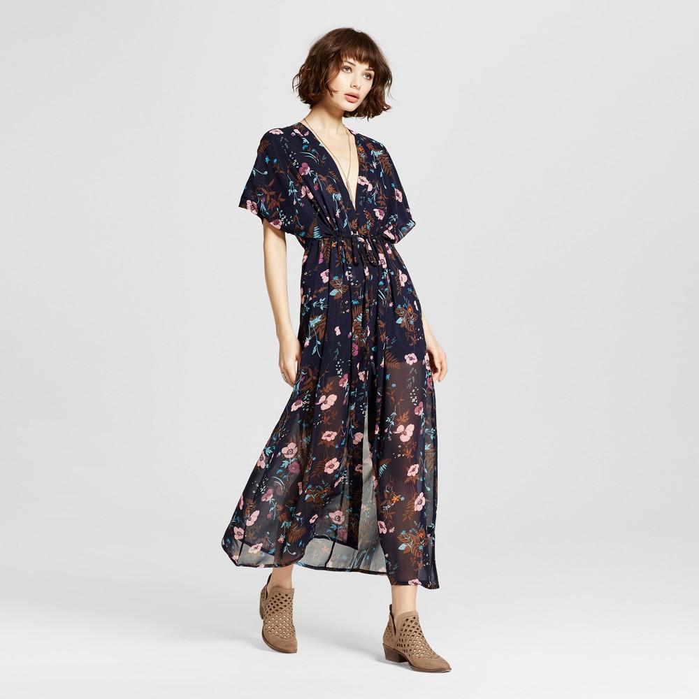 Women's Floral Dolman Sleeve Maxi Dress Navy M – K by Kersh, Blue