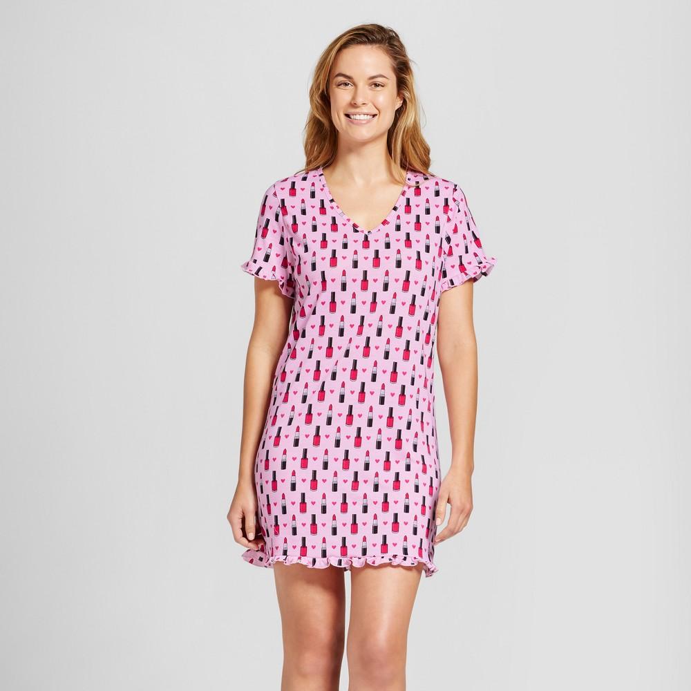 Womens Bhpj by Bedhead Pajamas Sleep Shirt - Lipstick & Nail Polish - Pink XS