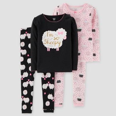 Baby Girls' 4pc I'm So Sheepy Long Sleeve Cotton Pajama Set - Just One You™ Made by Carter's® Black 9M