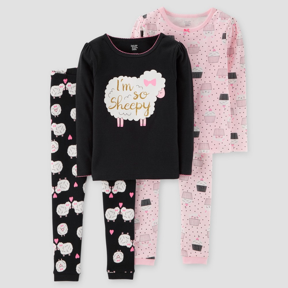 Toddler Girls 4pc Im So Sheepy Long Sleeve Cotton Pajama Set - Just One You Made by Carters Black 3T, Red