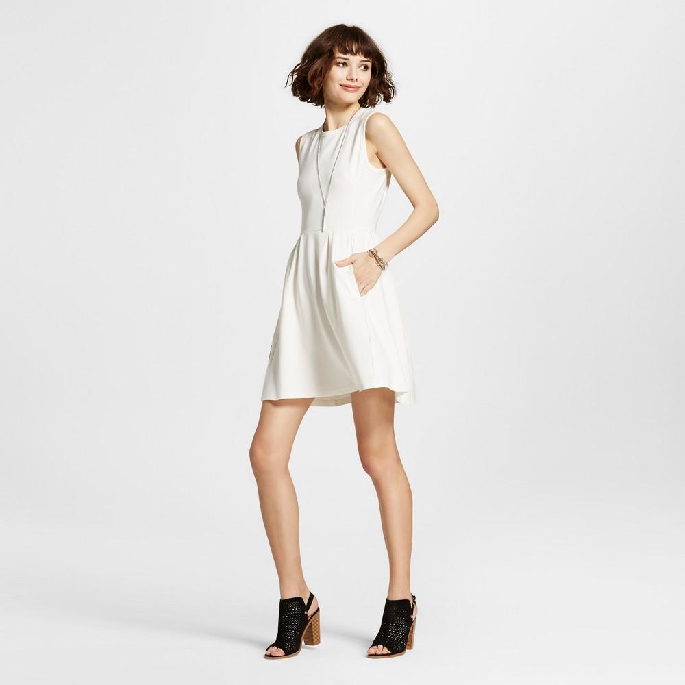 Womens Sleeveless A-Line Dress Cream S - K by Kersh, Beige
