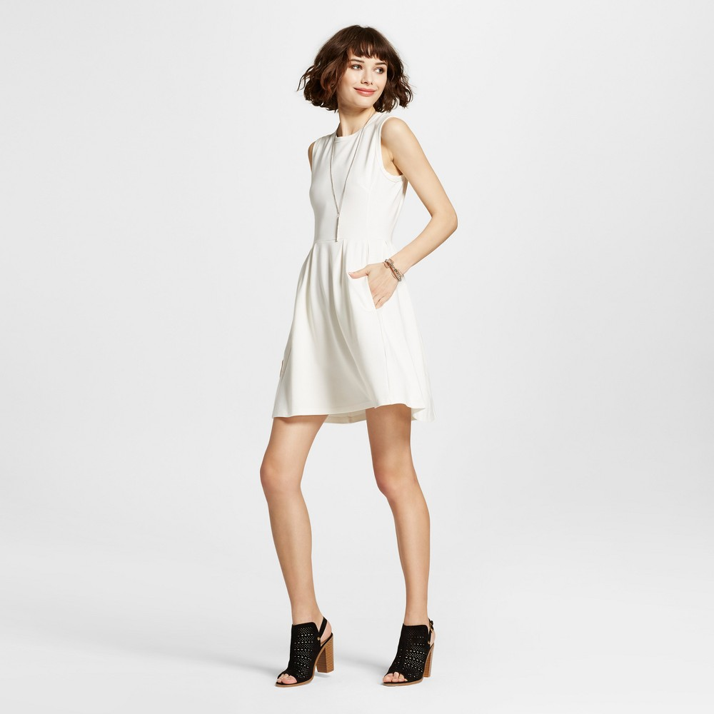 Womens Sleeveless A-Line Dress Cream M - K by Kersh, Beige