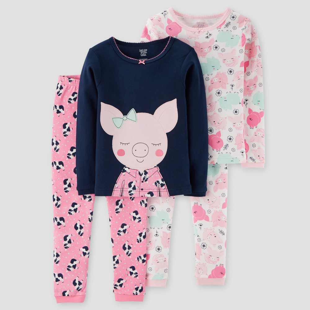 Toddler Girls 4pc Piggy & Cows Long Sleeve Cotton Pajama Set - Just One You Made by Carters Navy/Pink 3T