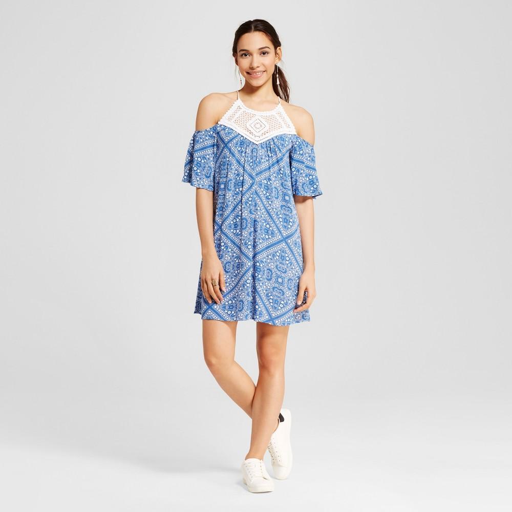 Women's Bandana Print Crochet Cold Shoulder Dress - Lots ...