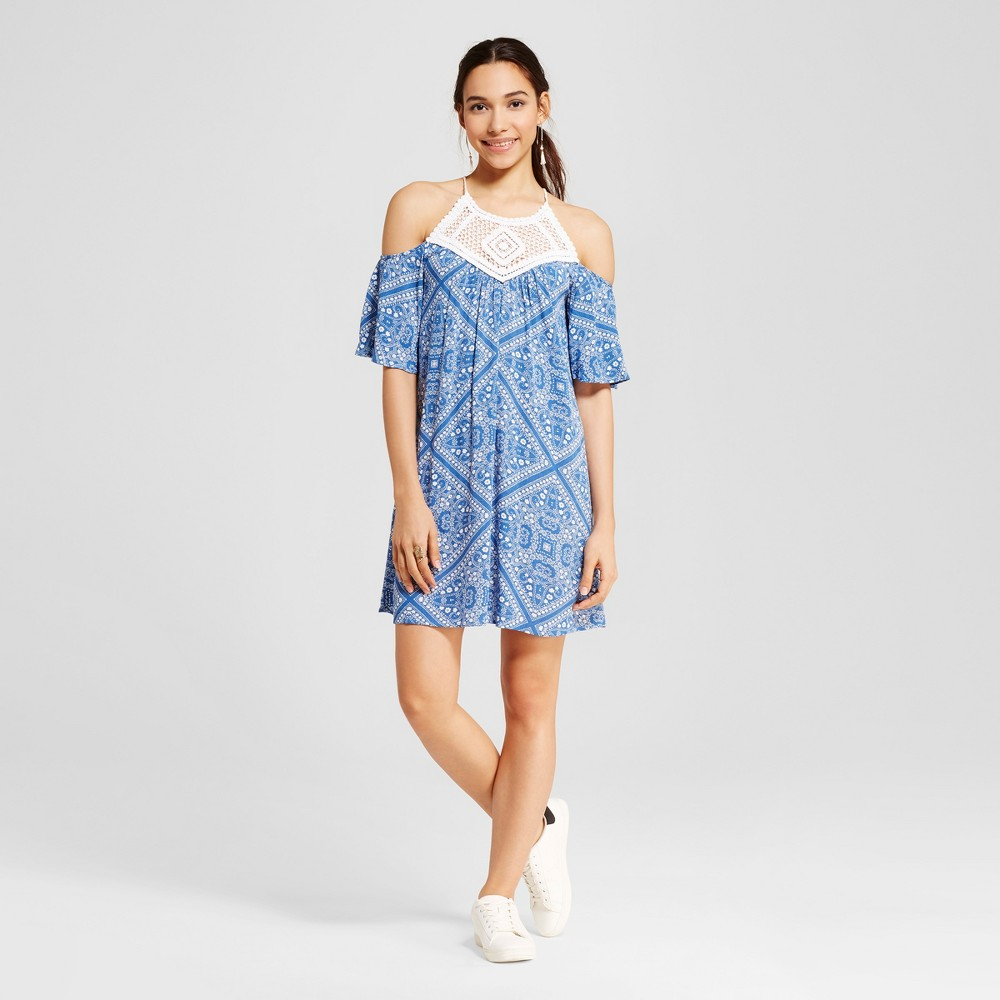 Womens Bandana Print Crochet Cold Shoulder Dress - Lots Of Love By Speechless (Juniors) Denim S, Blue White
