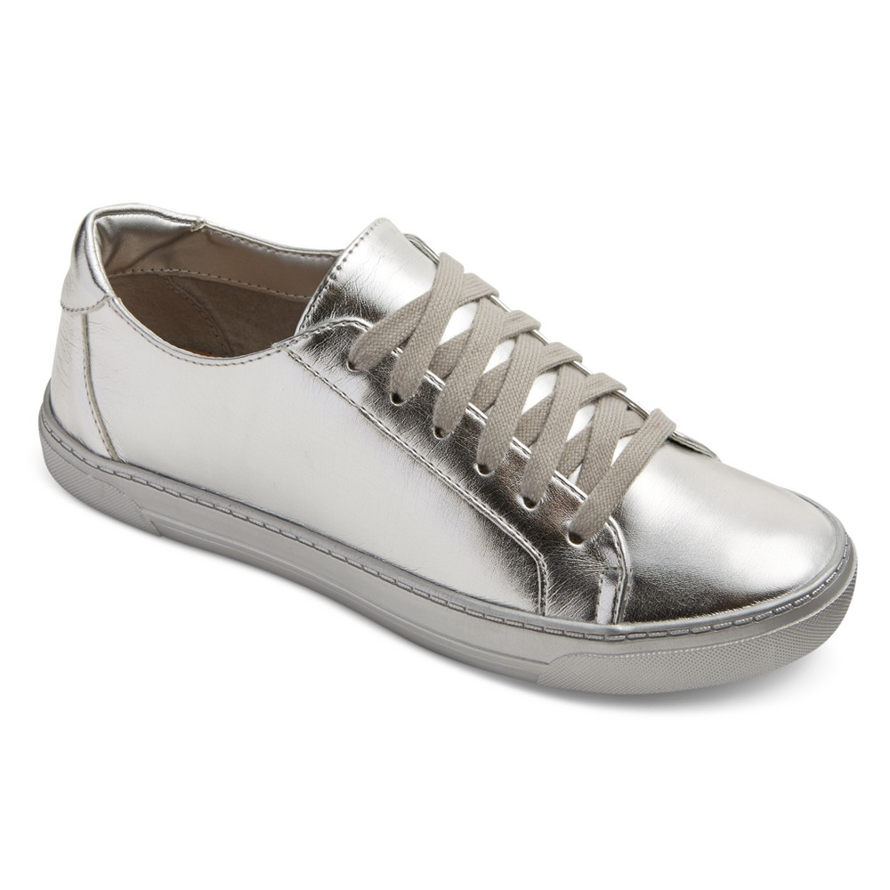 Womens Dv Sammy Lace Up Metallic Sneakers - Silver 8