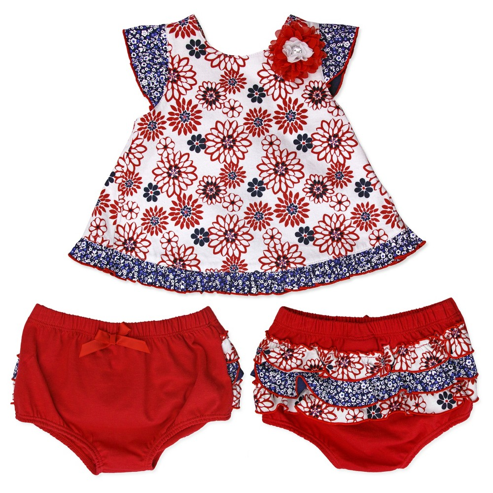 Baby Grand Signature Baby Girls Jersey Spandex Shirt and Diaper Cover Set - Red 24M, Size: 24 M