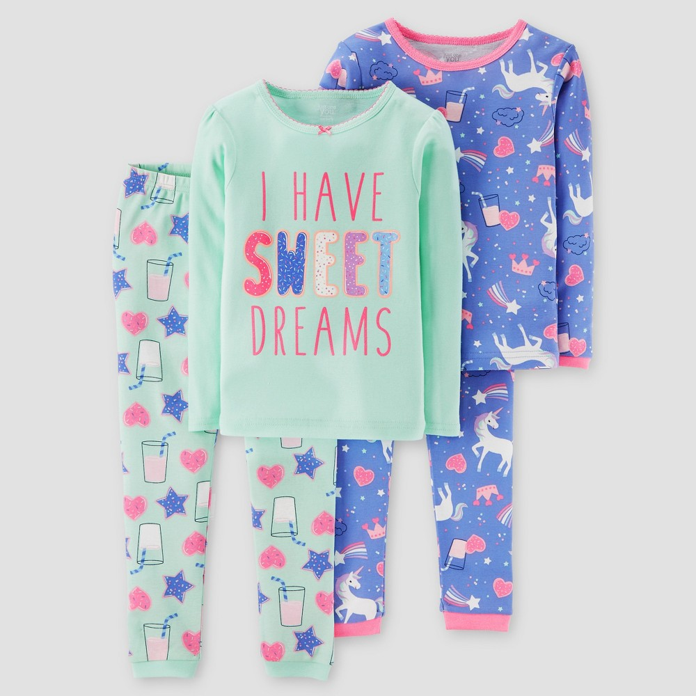 Toddler Girls 4pc Sweet Dreams Long Sleeve Cotton Pajama Set - Just One You Made by Carters Mint 18M, Size: 18 M, Green