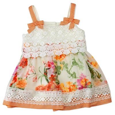 Baby Grand Signature Baby Girls' Floral Spandex Bodysuit Dress - Orange/White/Green 6-9M