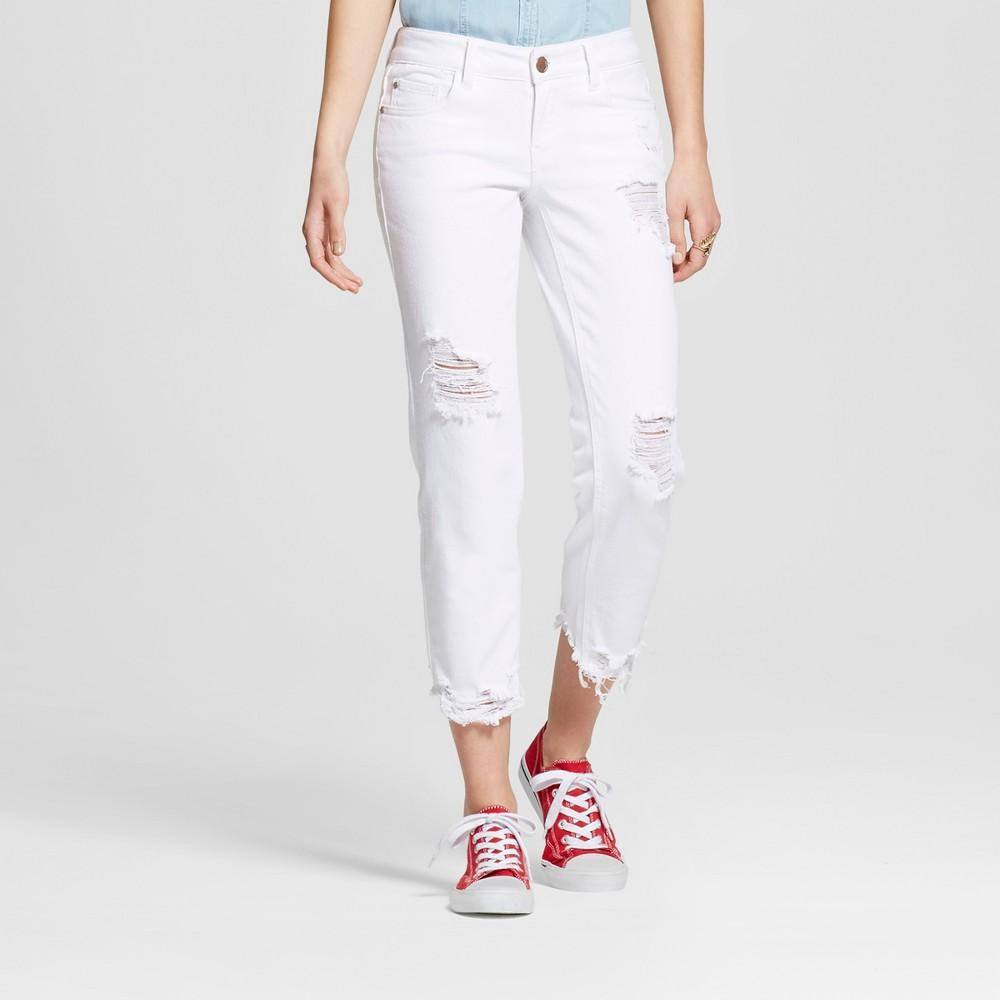 Womens Destructed Frayed Hem Crop Jeans White 3 - Dollhouse (Juniors)