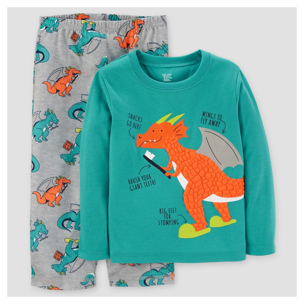 Toddler Boys 2pc Long Sleeve Poly Pajama Set - Just One You Made by Carters Dragon Turquoise 2T, Blue