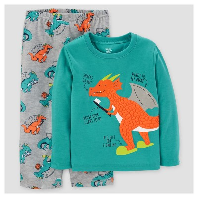 Baby Boys' 2pc Dragon Long Sleeve Poly Pajama Set - Just One You™ Made by Carter's® Turquoise 12M