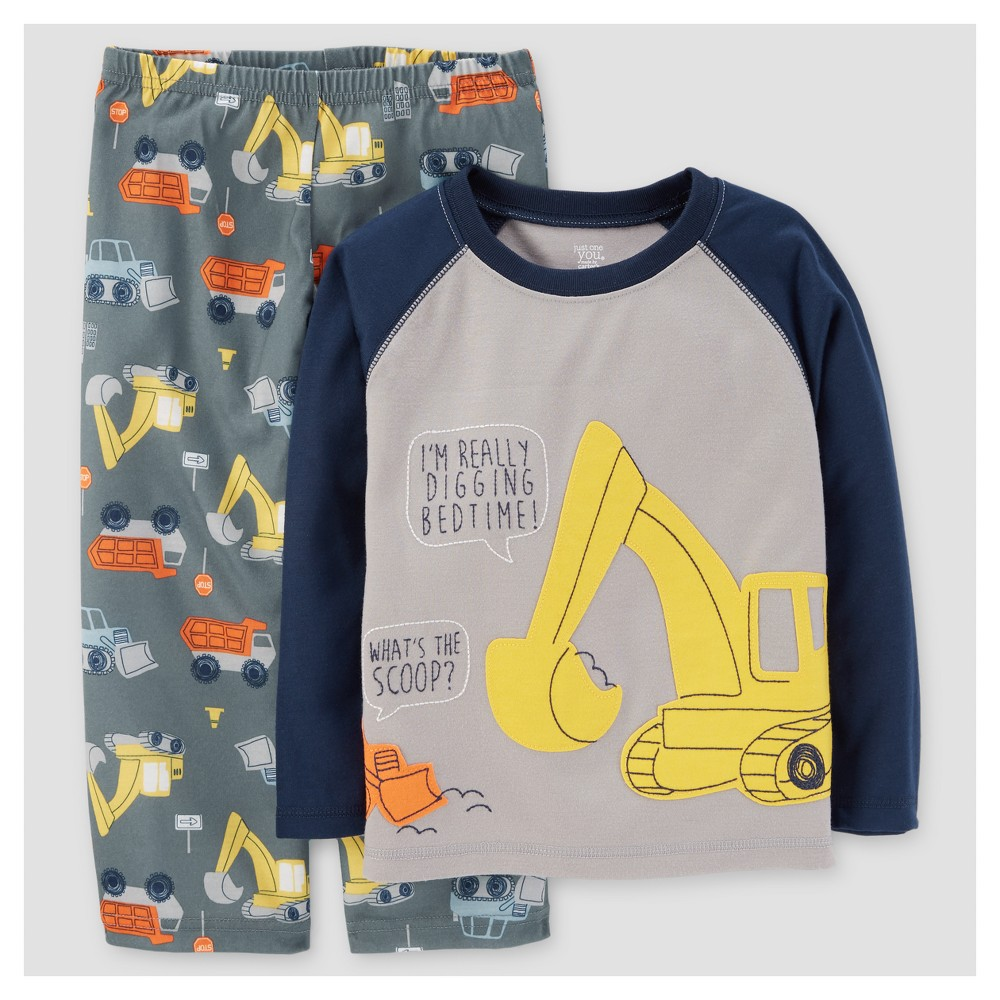Baby Boys 2pc Construction Long Sleeve Poly/Fleece Pajama Set - Just One You Made by Carters Gray/Navy 12M, Size: 12 Months