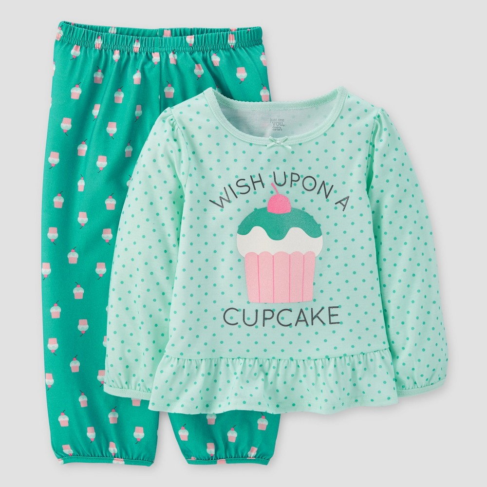 Toddler Girls 2pc Cupcake Long Sleeve Poly/Fleece Pajama Set - Just One You Made by Carters Mint 3T, Green