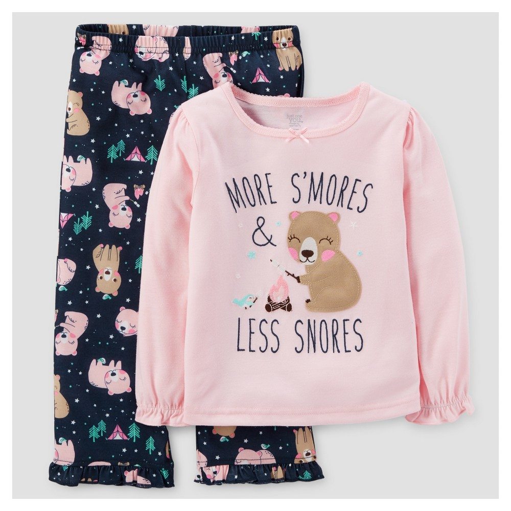 Toddler Girls 2pc More SMores Long Sleeve Poly/Fleece Pajama Set - Just One You Made by Carters Pink 3T