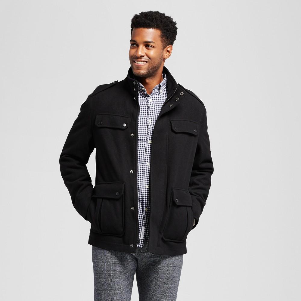 Mens Standard Fit Wool 4 Pocket Military Jacket - Goodfellow & Co Black XL