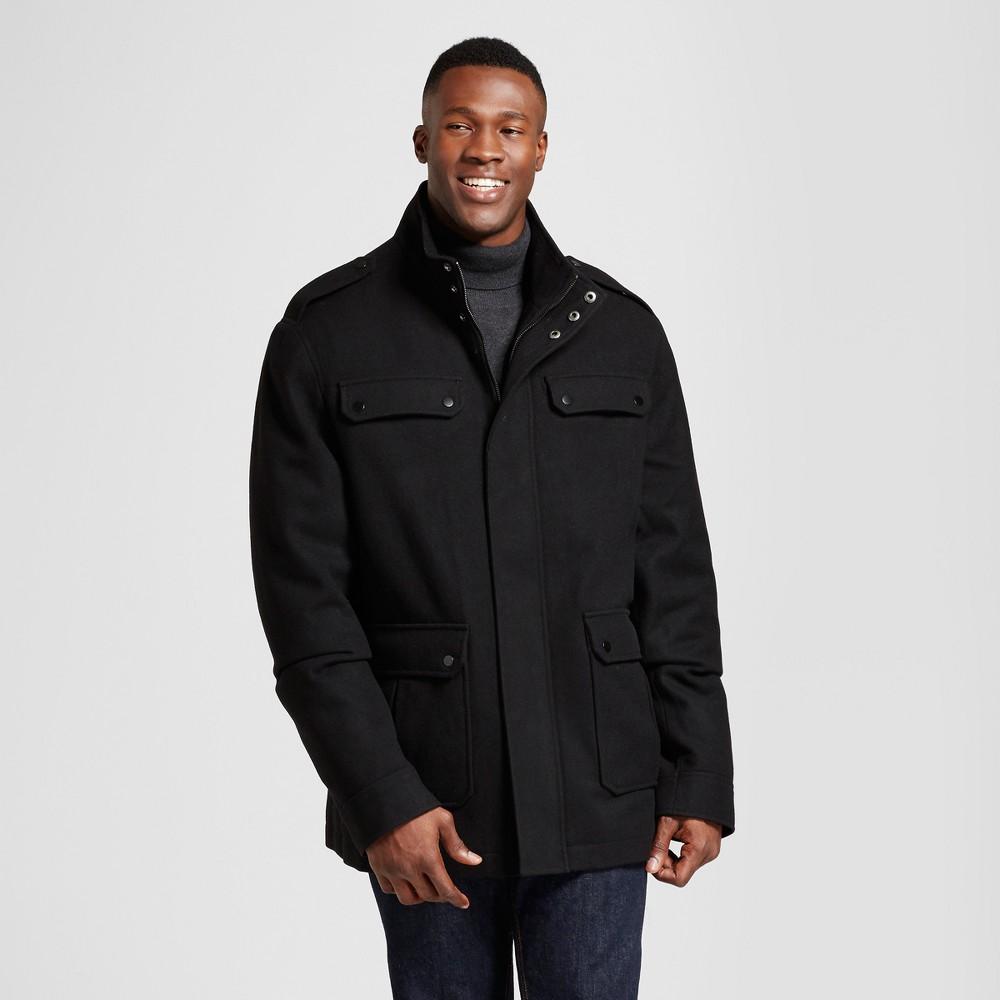 Mens Big & Tall Standard Fit Wool 4 Pocket Military Jacket - Goodfellow & Co Black 2XB
