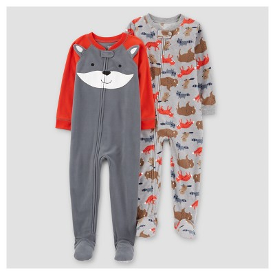 Baby Boys' 2pk Fox One Piece Fleece Pajama - Just One You™ Made by Carter's® 2pk Fox - 9M