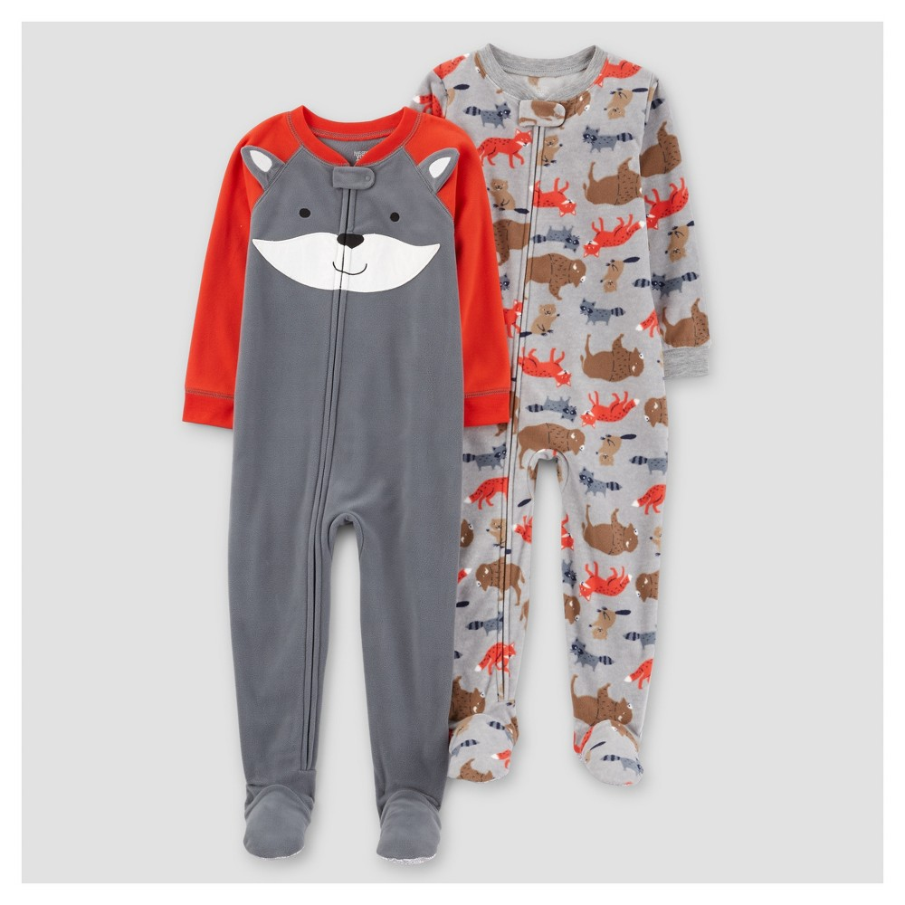 Toddler Boys 2pk Fox One Piece Fleece Pajama - Just One You Made by Carters Red 18M, Size: 18 M