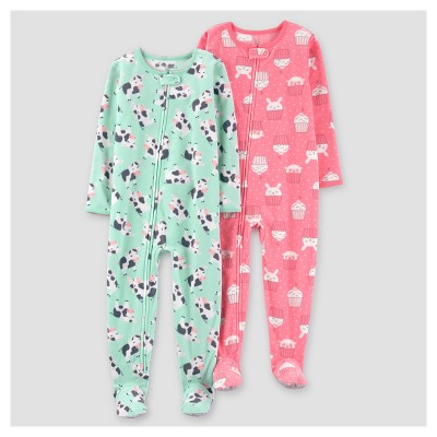 Baby Girls' 2pk Cows One Piece Fleece Pajama - Just One You™ Made by Carter's® Mint 9M