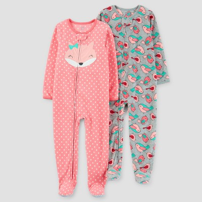 Baby Girls' 2pk Fox Polka Dots One Piece Fleece Pajama - Just One You™ Made by Carter's® Coral 12M