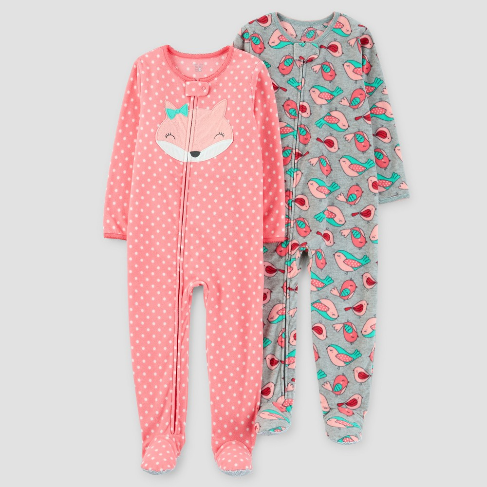 Baby Girls 2pk Fox Polka Dots One Piece Fleece Pajama - Just One You Made by Carters Coral 12M, Size: 12 Months, Pink