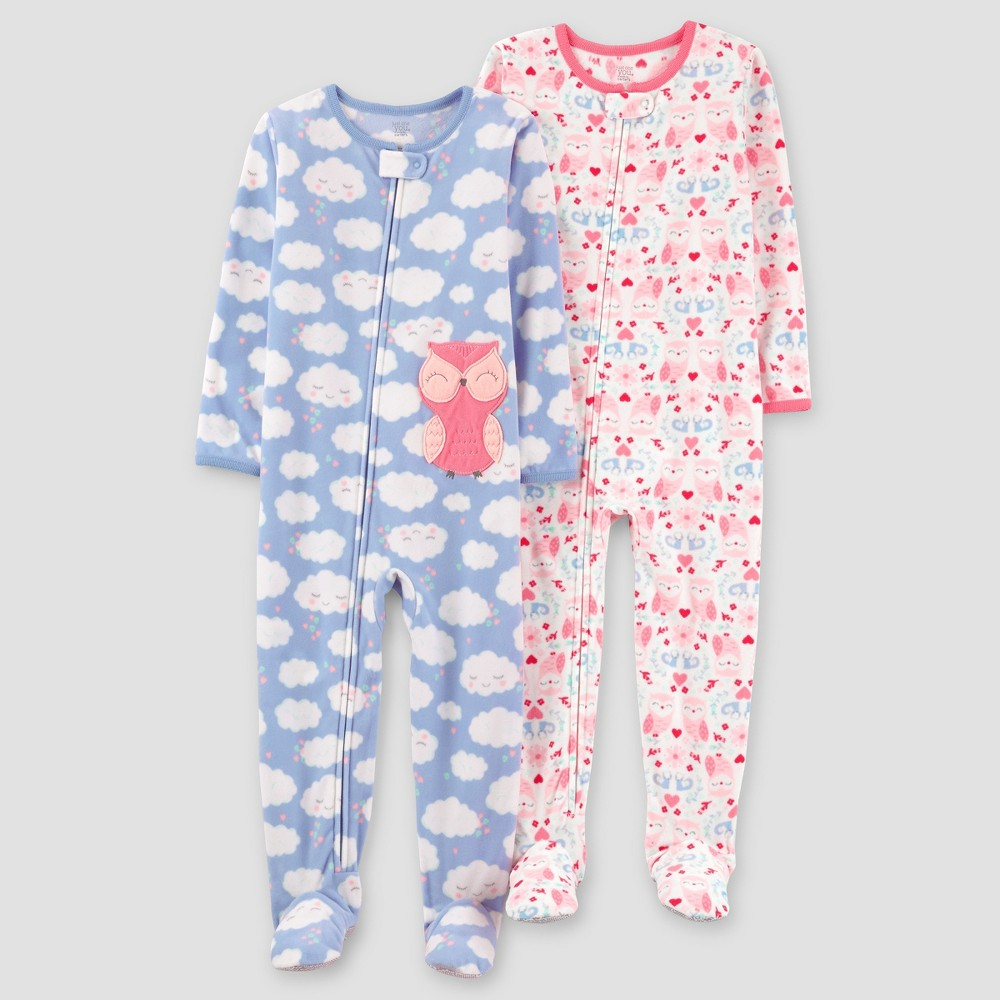 Toddler Girls 2pk Clouds Owl One Piece Fleece Pajama - Just One You Made by Carters Blue 18M, Size: 18 M