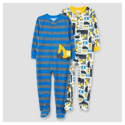 Baby Boys' 2pk Stripe Construction One Piece Poly Pajama - Just One You™ Made by Carter's® Blue 9M