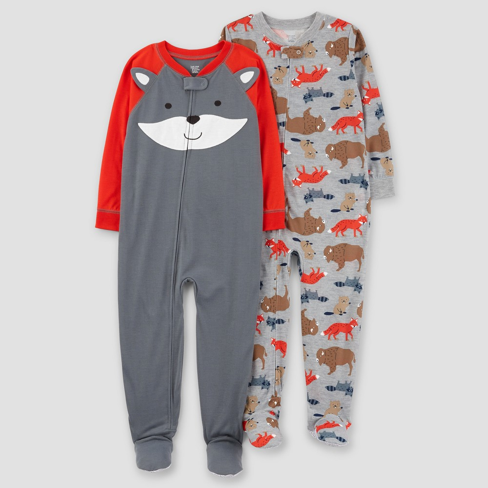 Toddler Boys 2pk Fox Poly Pajama - Just One You Made by Carters Red 5T, Orange