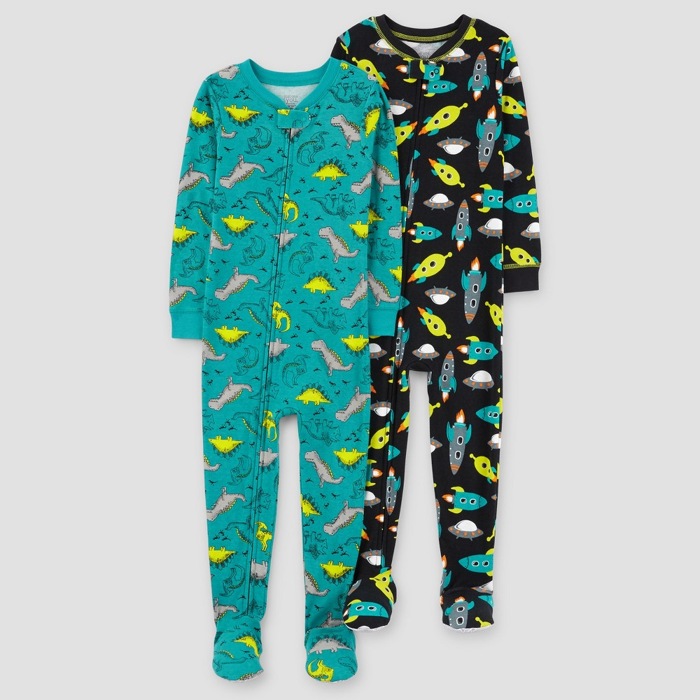 Toddler Boys 2pk Spaceships Dinosaurs One Piece Cotton Pajama - Just One You Made by Carters Teal 18M, Size: 18 M, Blue