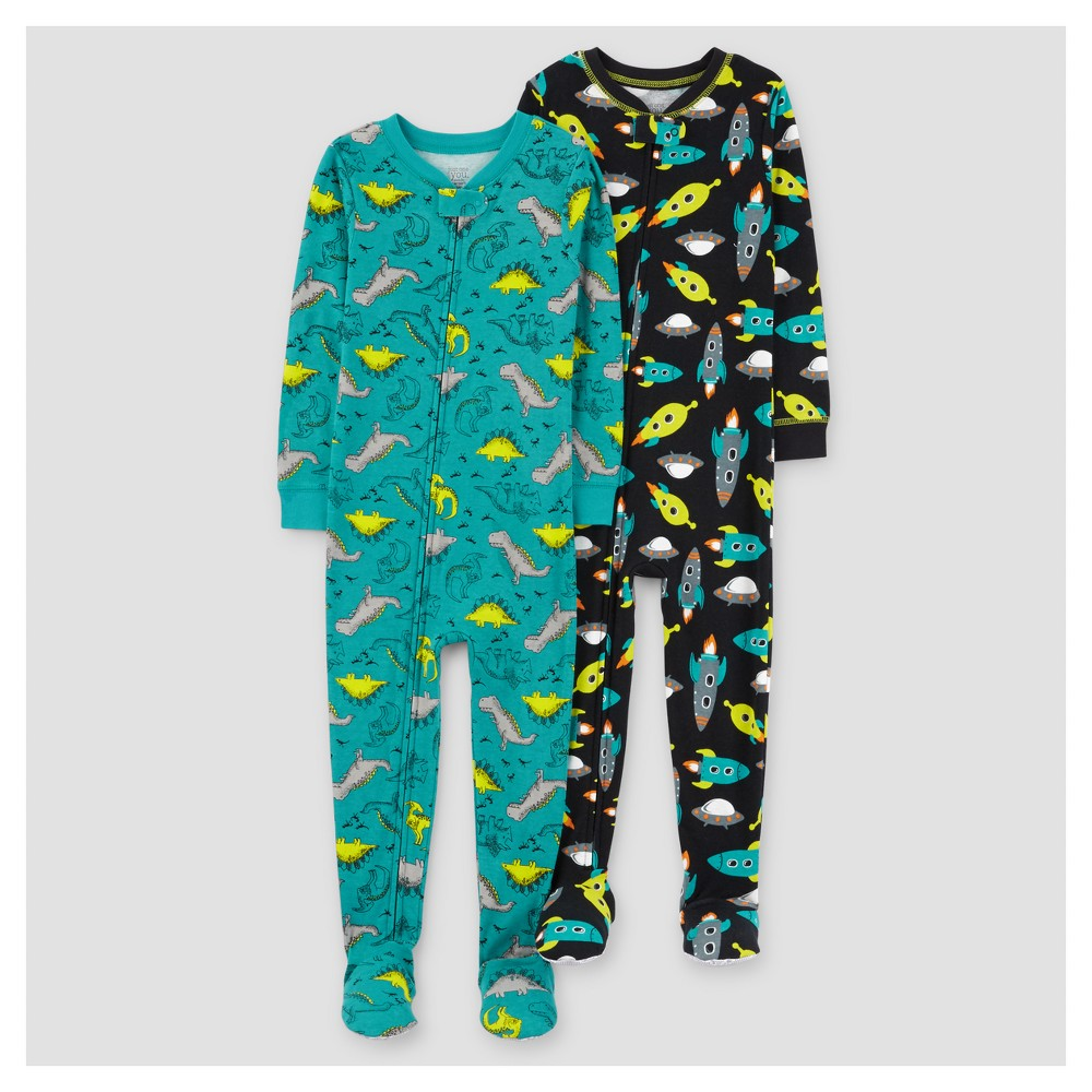 Toddler Boys 2pk Spaceships Dinosaurs Cotton Pajama - Just One You Made by Carters Teal 5T, Blue