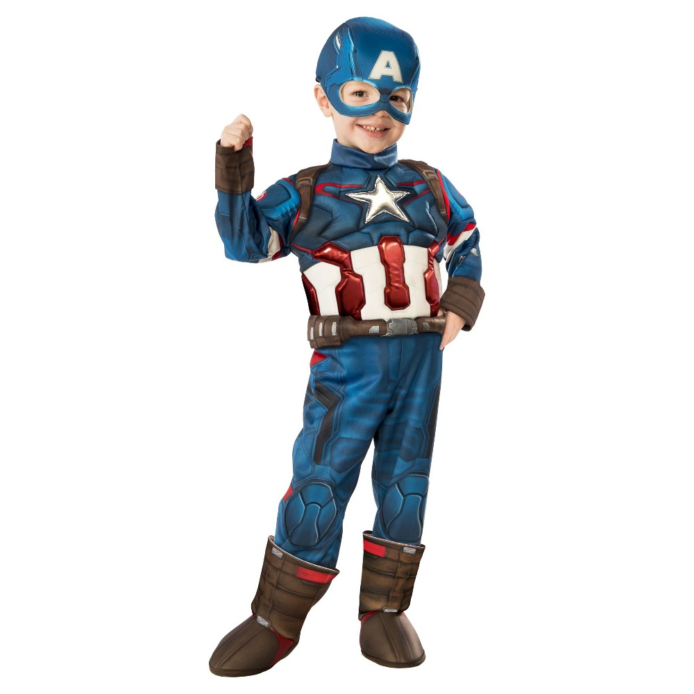Toddler Marvel Captain America Muscle Costume - 2T-3T, Toddler Boys, Size: 2 T-3T, Multicolored
