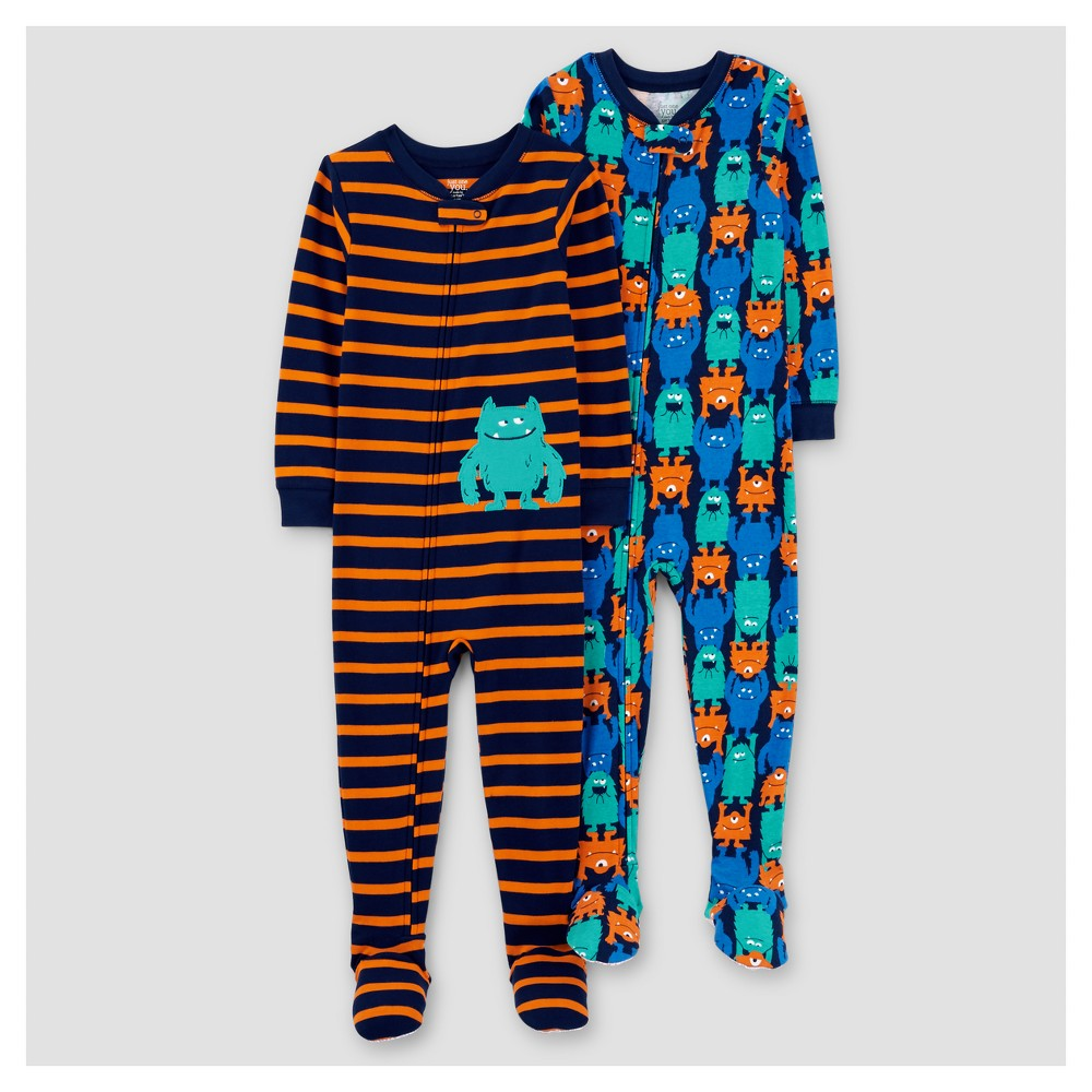 Toddler Boys 2pk Stripe Monsters Cotton Pajama - Just One You Made by Carters Orange 2T