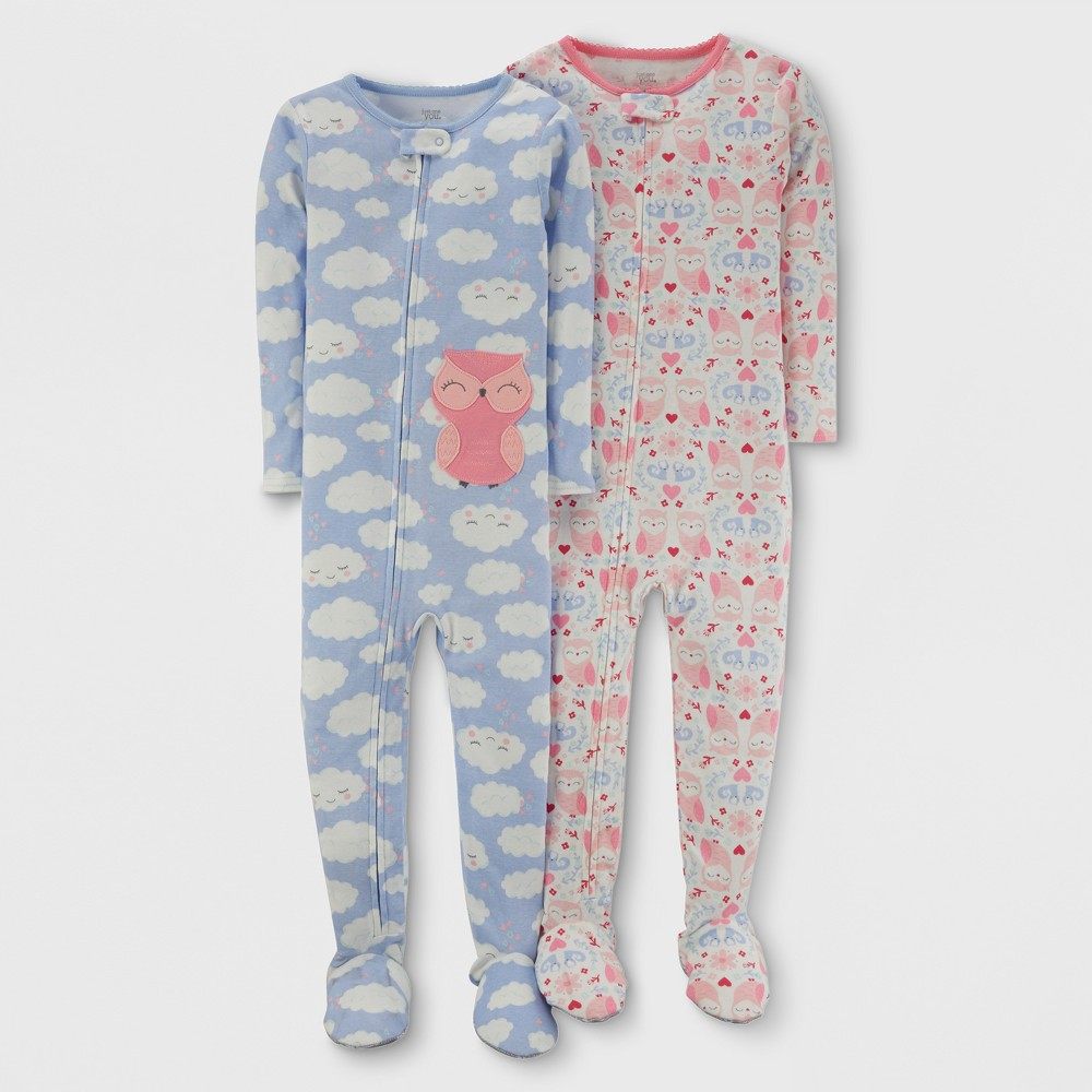 Toddler Girls 2pk Clouds Owl Cotton Pajama - Just One You Made by Carterss Blue 2T