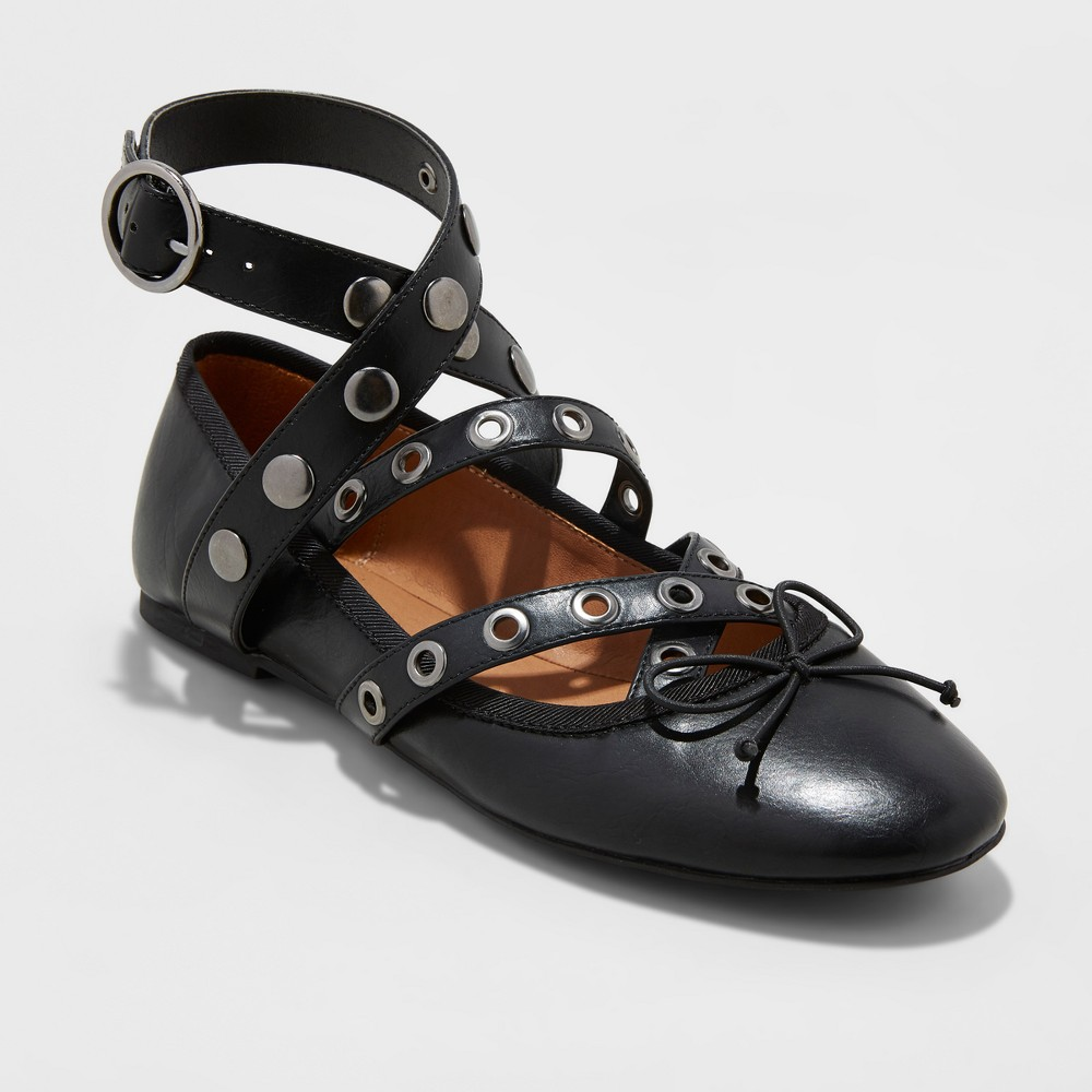Womens Nessa Strappy Ballet Flats With Studs - Mossimo Supply Co. Black 8