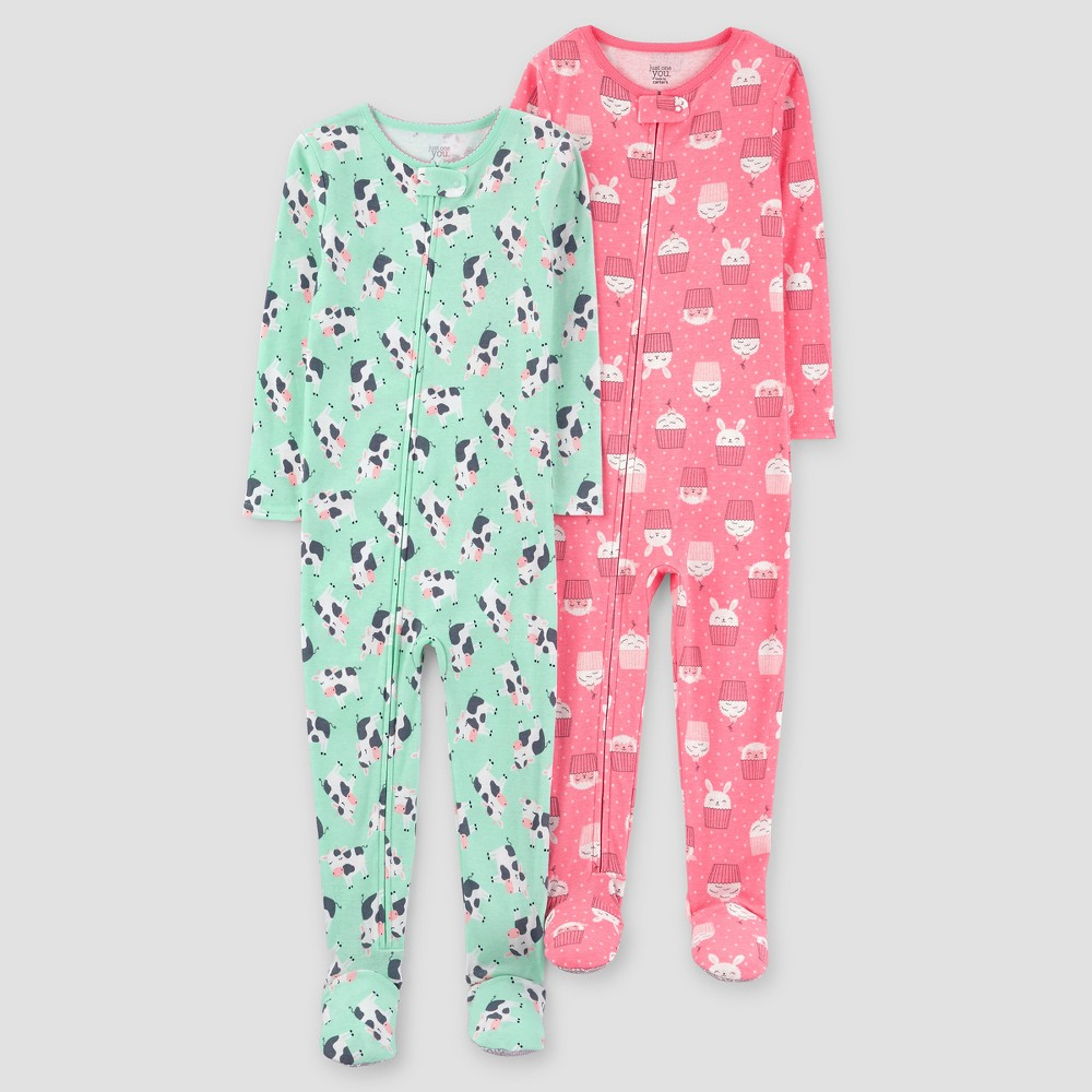 Baby Girls 2pk Cows One Piece Cotton Pajama - Just One You Made by Carters Green 12M, Size: 12 Months