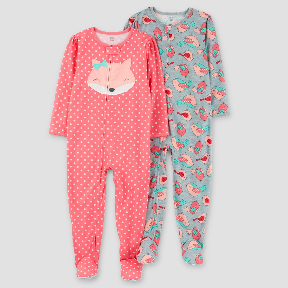 Toddler Girls 2pk Fox Polka Dots Poly Pajama - Just One You Made by Carters Pink 5T