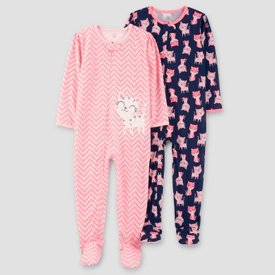 Baby Girls' 2pk Zig Zag Kitty One Piece Poly Pajama - Just One You™ Made by Carter's® Pink 12M