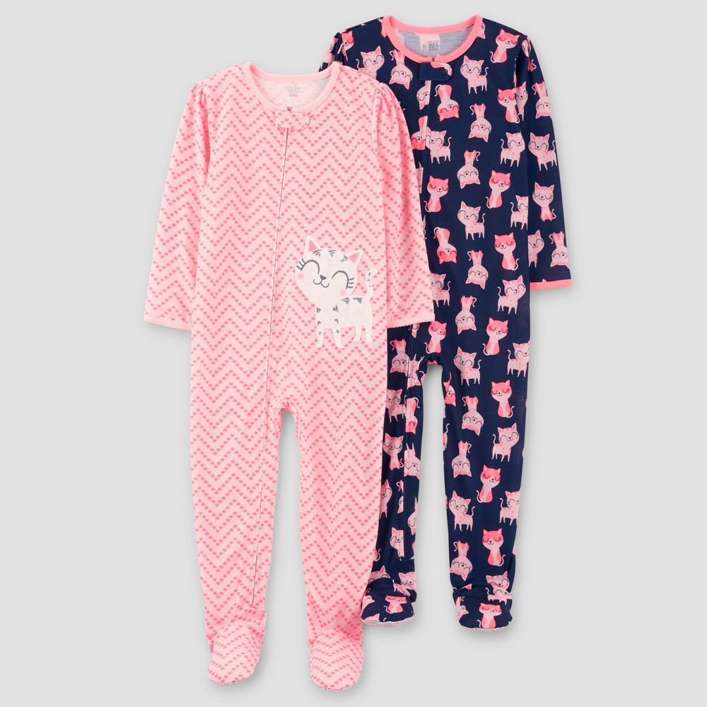 Baby Girls 2pk Zig Zag Kitty One Piece Poly Pajama - Just One You Made by Carters Pink 12M, Size: 12 Months