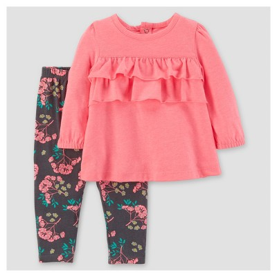 Baby Girls' 2pc Cotton/Jersey Ruffle Top Set - Just One You™ Made by Carter's® Pink NB