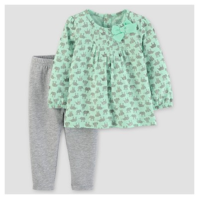 Baby Girls' 2pc Cotton/Jersey Set - Just One You™ Made by Carter's® Mint/Gray 12M
