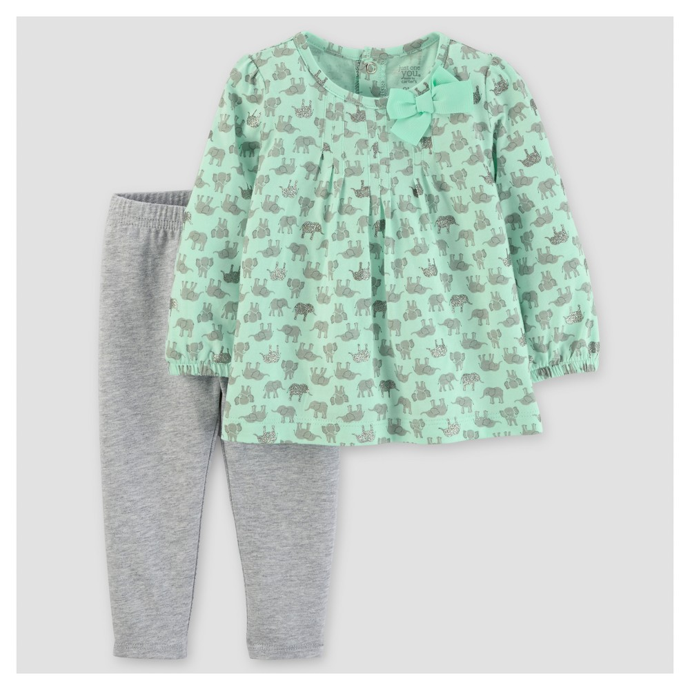 Baby Girls 2pc Cotton/Jersey Set - Just One You Made by Carters Mint/Gray 12M, Size: 12 M, Green