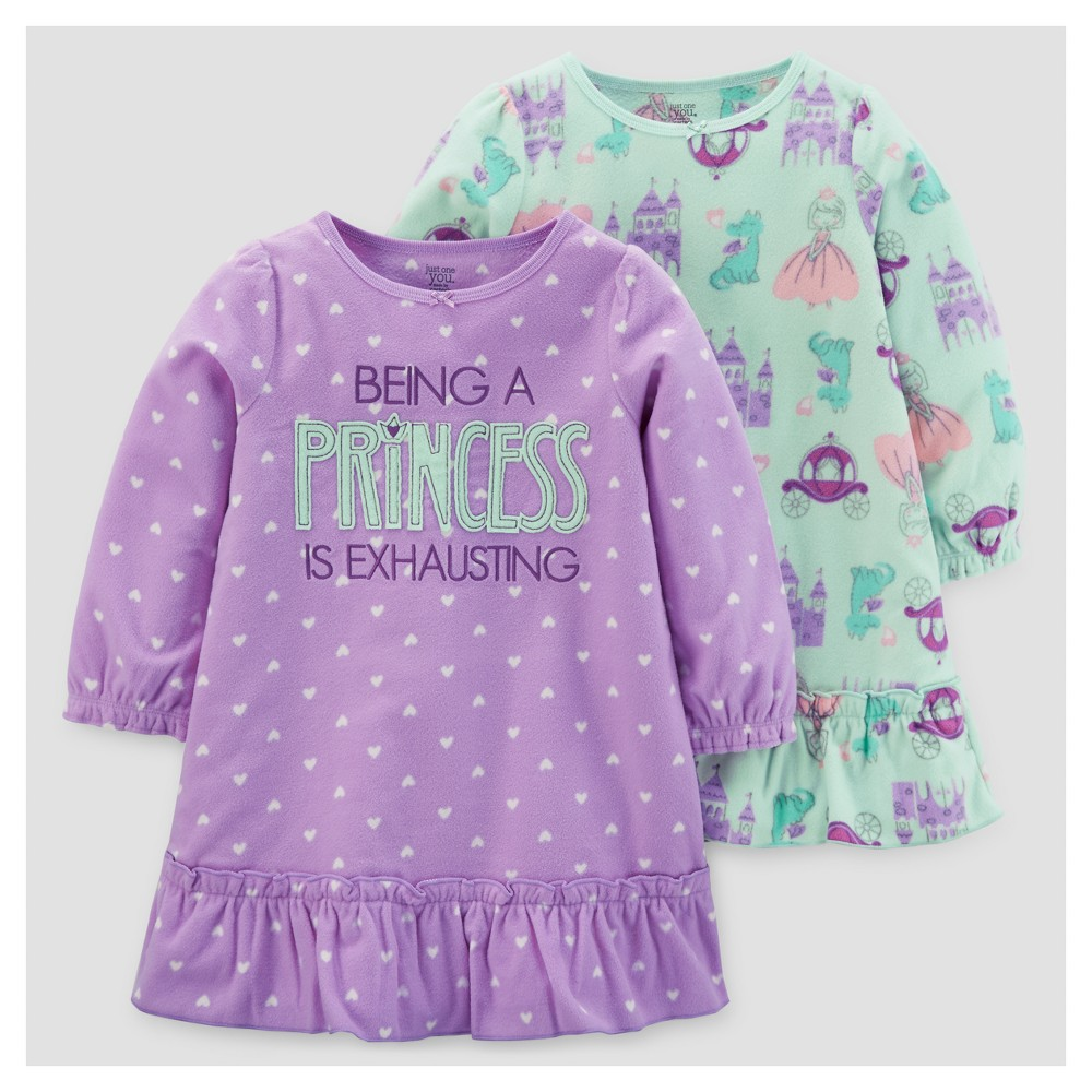 Toddler Girls 2pk Princess Polka Dots One Piece Fleece Pajama Set - Just One You Made by Carters Purple 12M, Size: 12 M